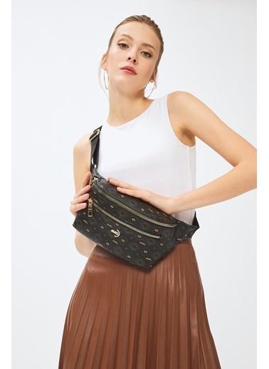 Deri Company Kadın Basic Bel Çantası Monogram Desenli Siyah Taba 214037 Siyah